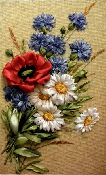 Вышивка лентами. Картина «Полевые цветы». Часть 1 63