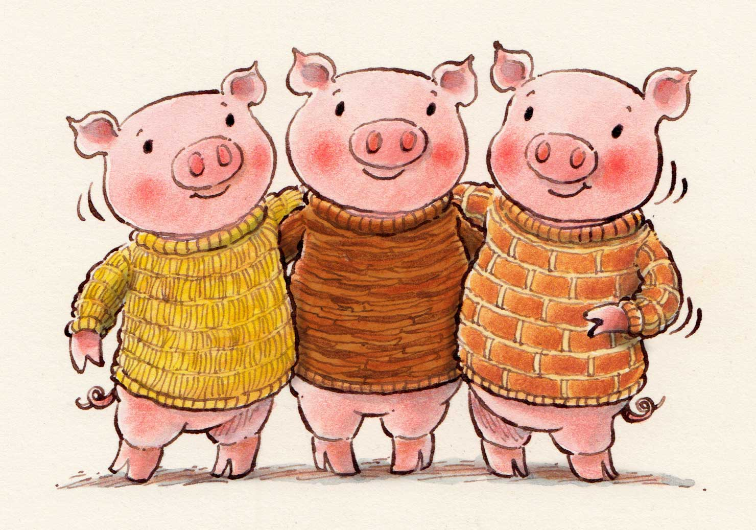 The Three Little Pigs is a fable about three pigs who build three houses of different materials A Big Bad Wolf blows down the first two pigs houses made of straw