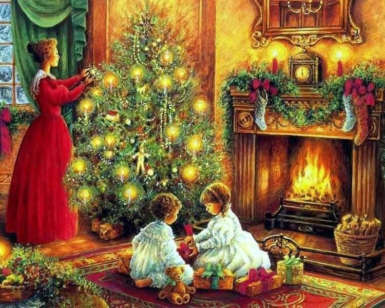 Дети наряжают елку открытка