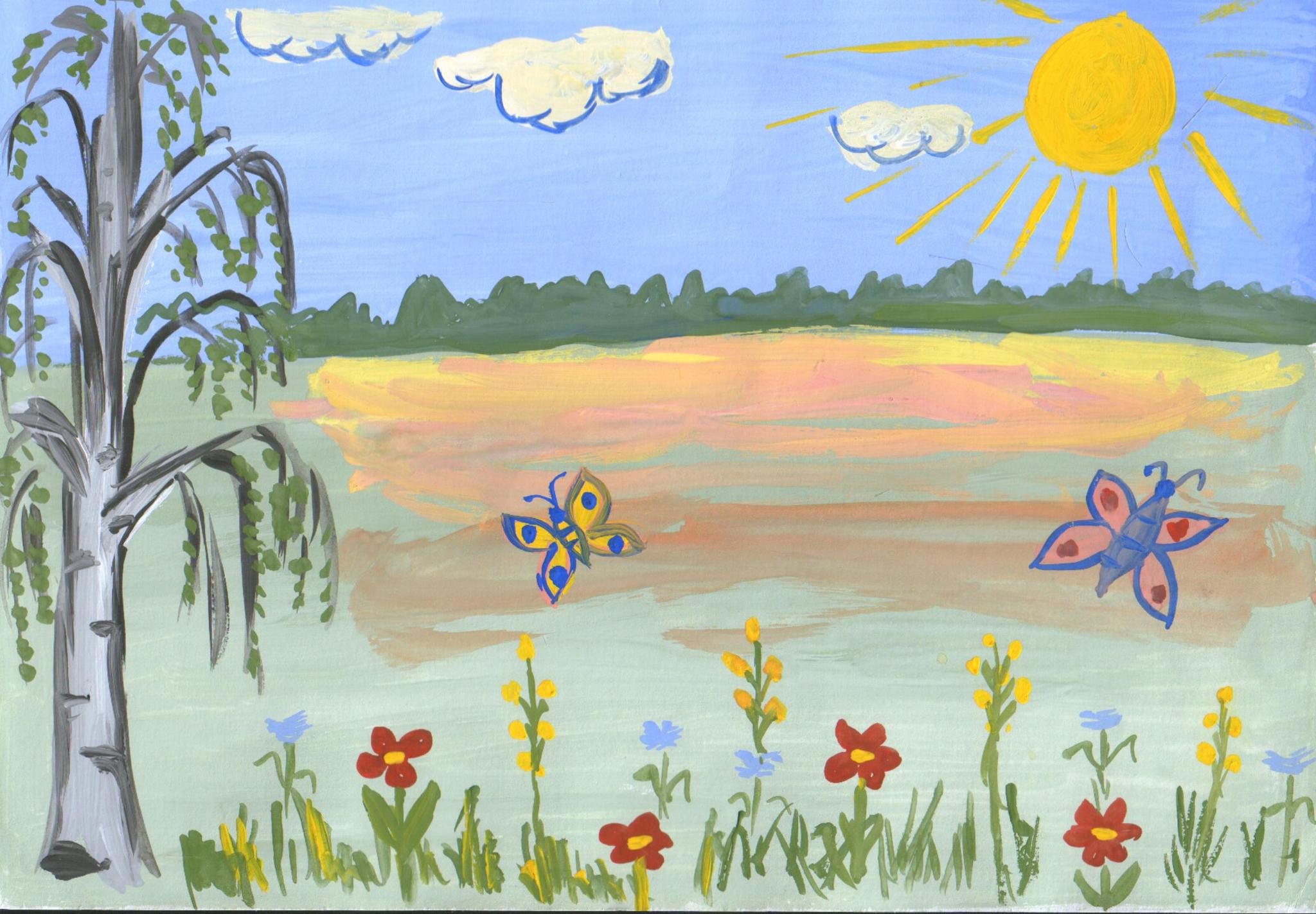Рисунок до свидания лето в детском саду
